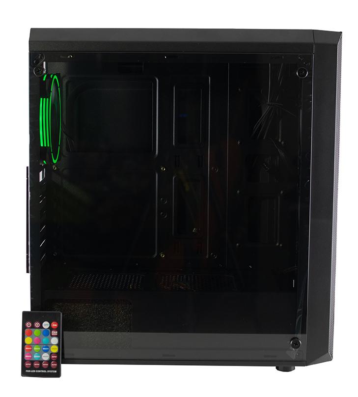 GABINETE GAMER AUREOX HYDRA ARX 330G costado green