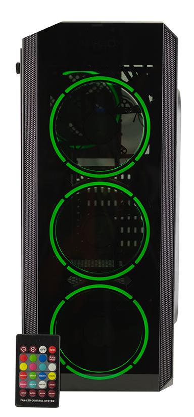 GABINETE GAMER AUREOX HYDRA ARX 330G frente green