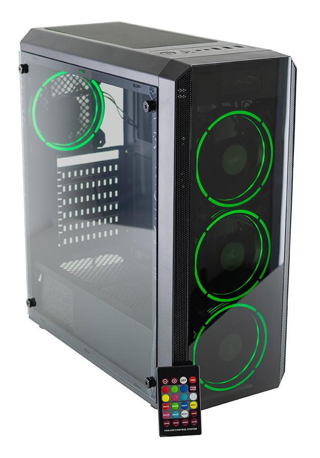 GABINETE GAMER AUREOX HYDRA ARX 330G perfil green con control