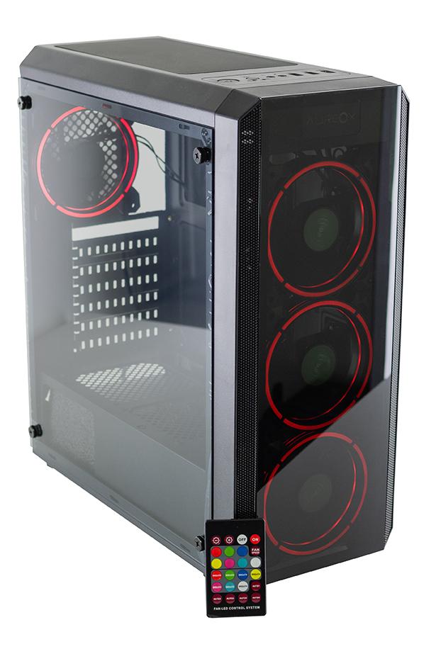 GABINETE GAMER AUREOX HYDRA ARX 330G perfil red con control